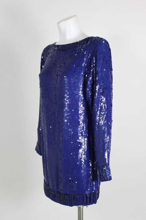 Yves Saint Laurent Blue Sequin and Beaded Tunic image 2