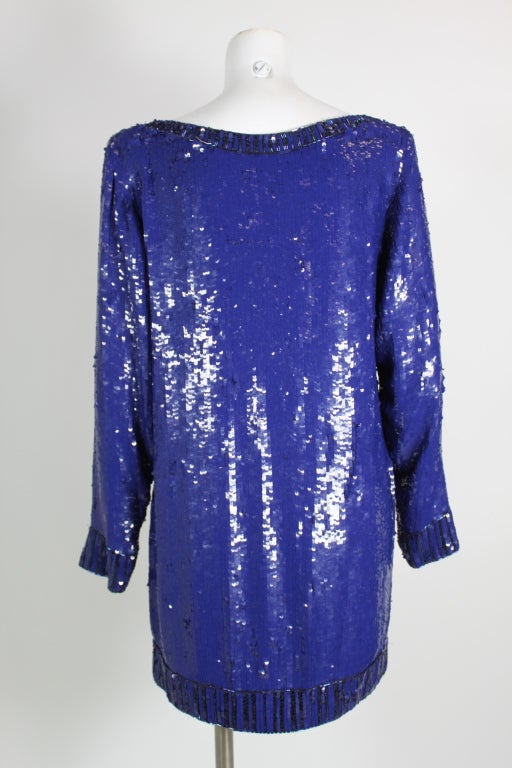Yves Saint Laurent Blue Sequin and Beaded Tunic image 4