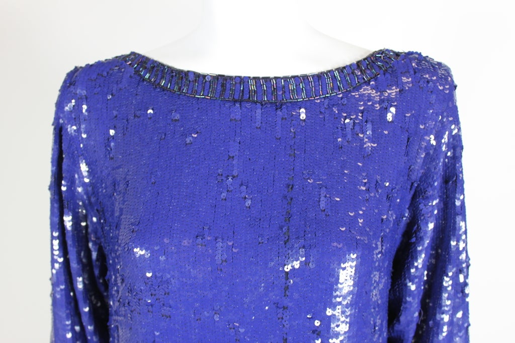 Yves Saint Laurent Blue Sequin and Beaded Tunic image 5