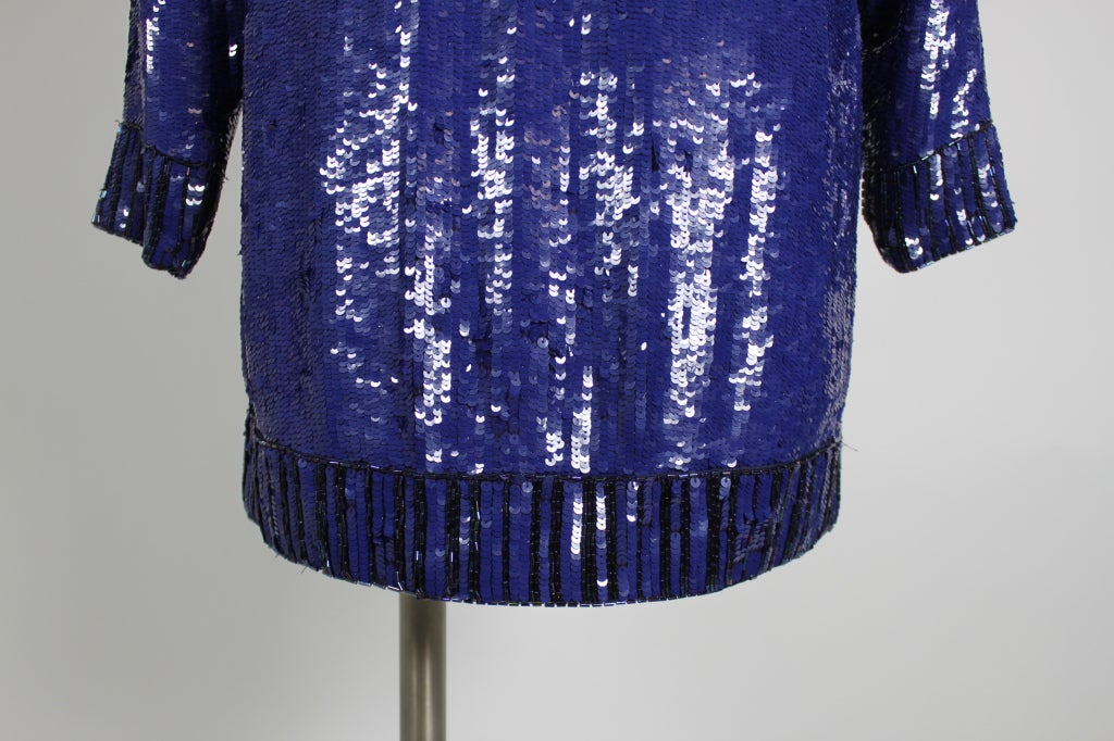 Yves Saint Laurent Blue Sequin and Beaded Tunic image 7