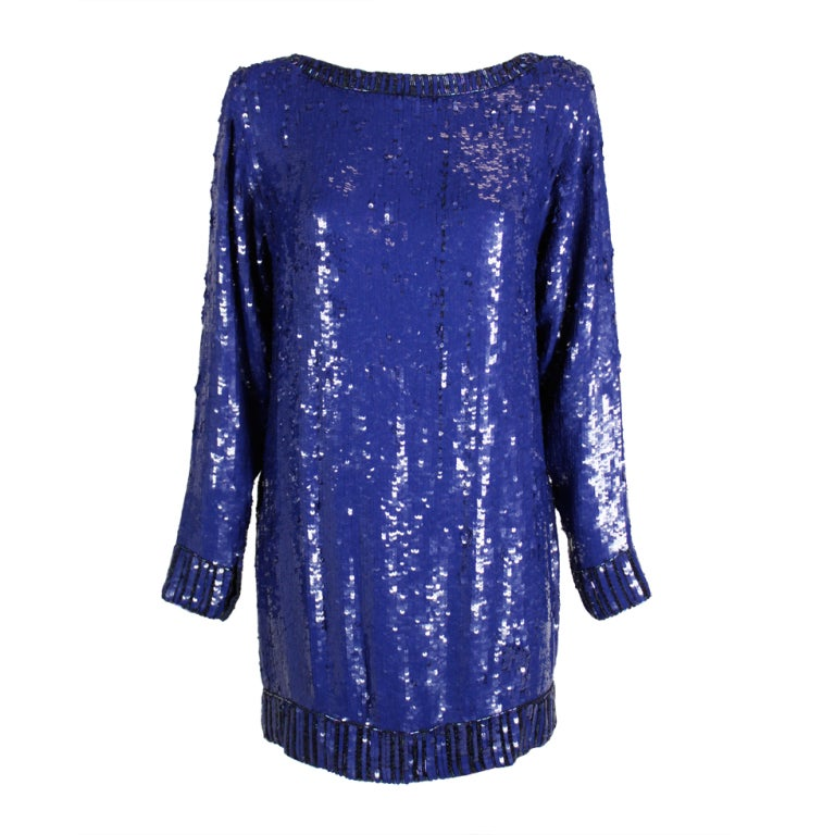 Yves Saint Laurent Blue Sequin and Beaded Tunic