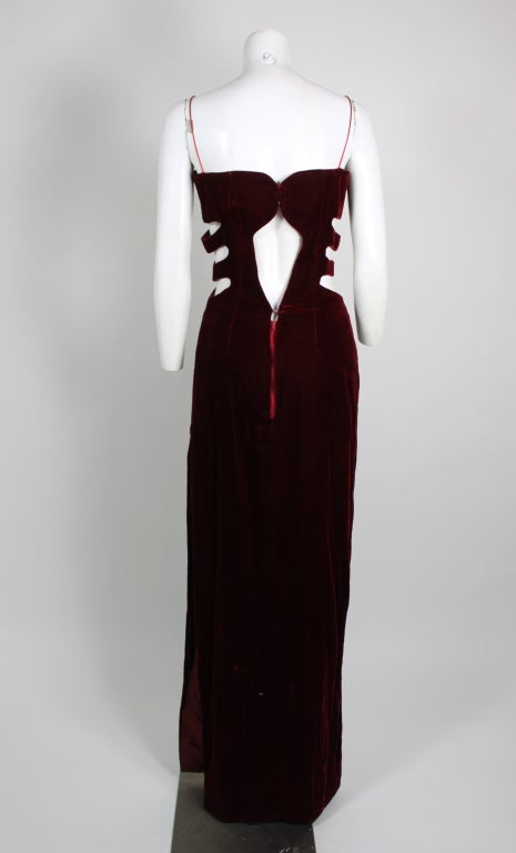 Bandini Deep Red Velvet Gown with Cutouts 5