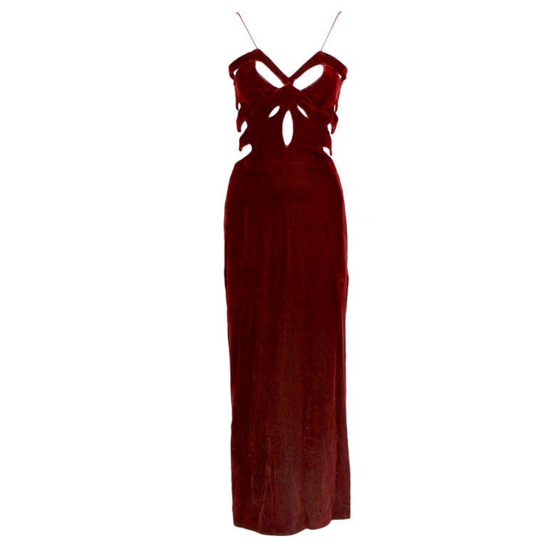 Bandini Deep Red Velvet Gown with Cutouts 1