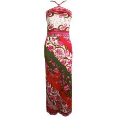 1960s Pucci Pink Silk Jersey Floral Halter Maxi Dress