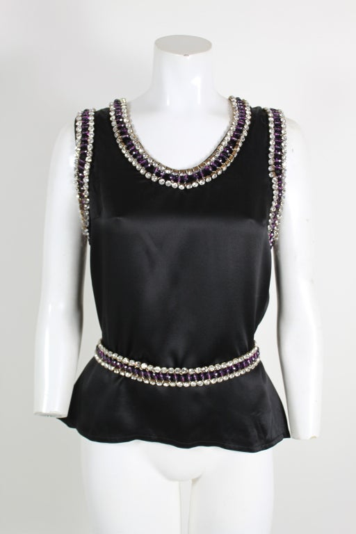 Paco Rabanne Blouse with Jewel Encrusted Collar & Belt 2