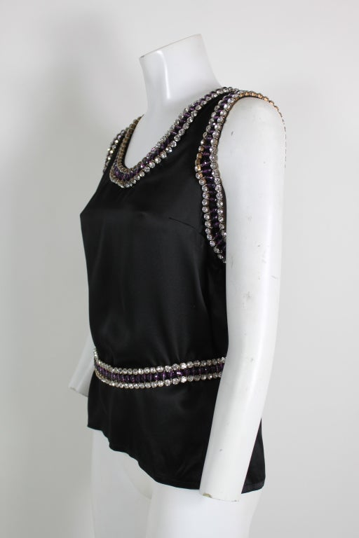 Paco Rabanne Blouse with Jewel Encrusted Collar & Belt 3
