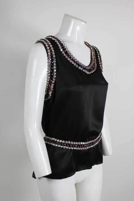 Paco Rabanne Blouse with Jewel Encrusted Collar & Belt 4