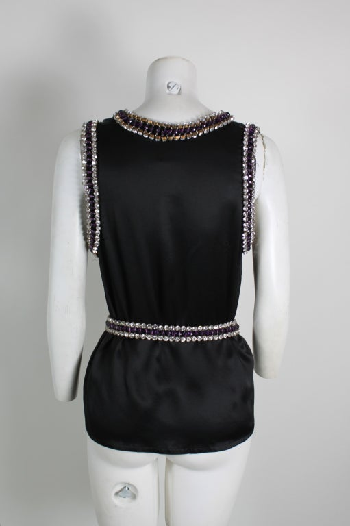 Paco Rabanne Blouse with Jewel Encrusted Collar & Belt 5