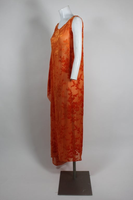 1920s Vibrant Orange Burnout Velvet Asymmetrical Dress 3