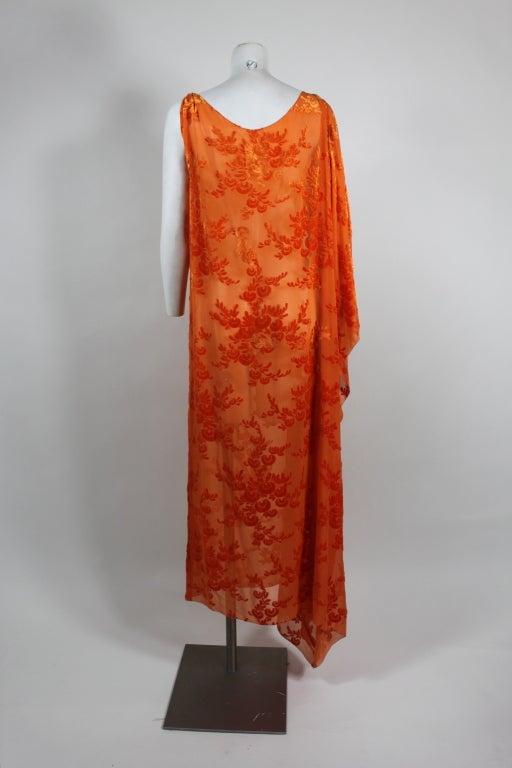 1920s Vibrant Orange Burnout Velvet Asymmetrical Dress In Excellent Condition For Sale In Los Angeles, CA