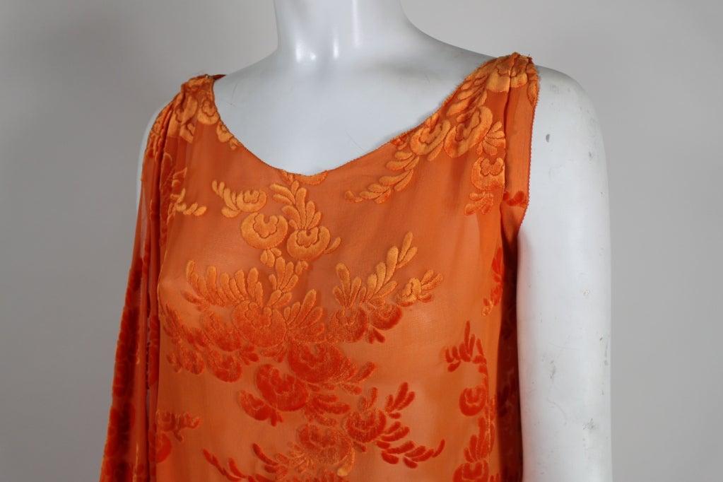 Women's 1920s Vibrant Orange Burnout Velvet Asymmetrical Dress For Sale