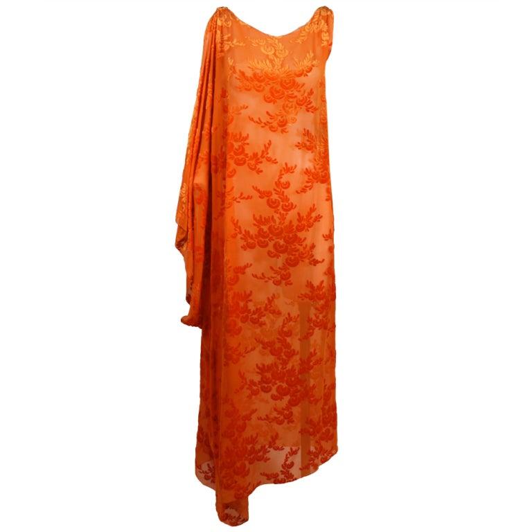 1920s Vibrant Orange Burnout Velvet Asymmetrical Dress For Sale