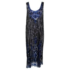 1920's Black and Navy Sequined Flapper Dress