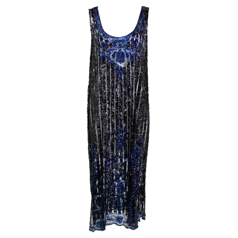 1920 39 s black and navy sequined flapper dress at 1stdibs for Costume jewelry for evening gowns