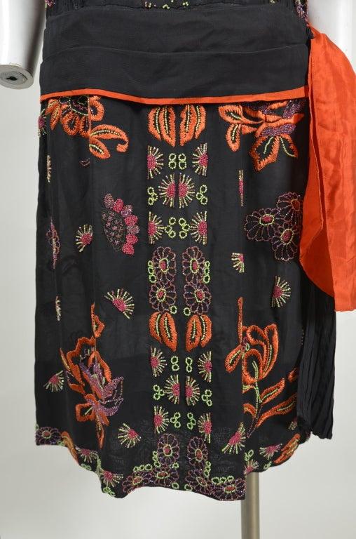 1920s Silk Chiffon Botanical Beaded Dress with Pleated Sash For Sale 1
