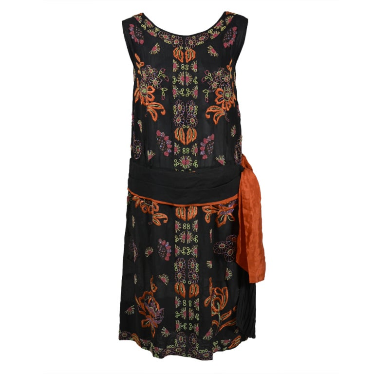 1920s Silk Chiffon Botanical Beaded Dress with Pleated Sash For Sale