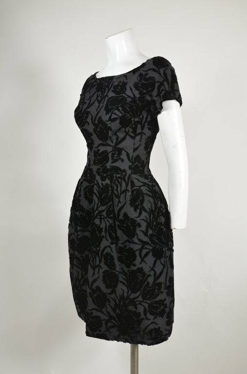 50s Black Floral Burnout Velvet Cocktail Dress with Tulip Skirt image 2