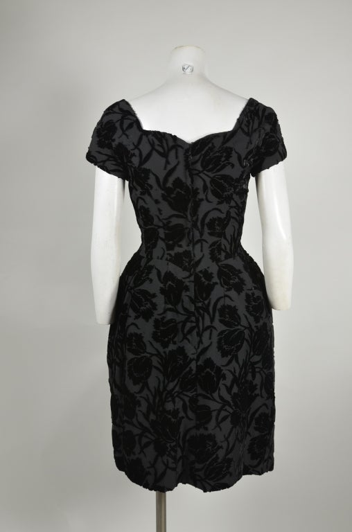 50s Black Floral Burnout Velvet Cocktail Dress with Tulip Skirt image 4