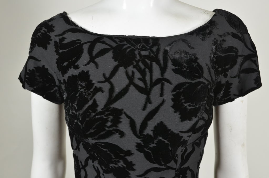 50s Black Floral Burnout Velvet Cocktail Dress with Tulip Skirt image 5