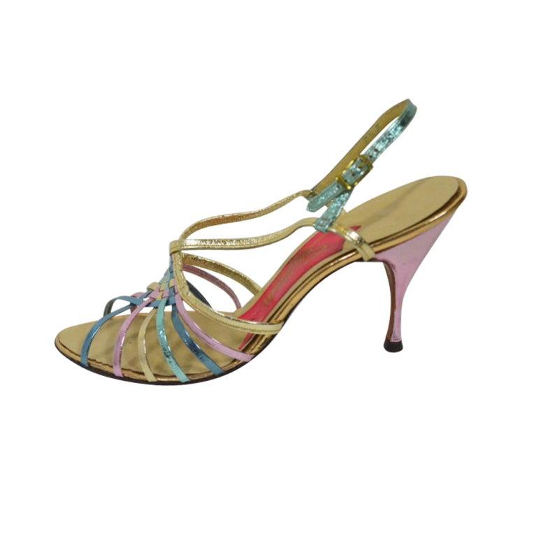 Schiaparelli Rainbow Metallic Strappy Sandals At 1stdibs