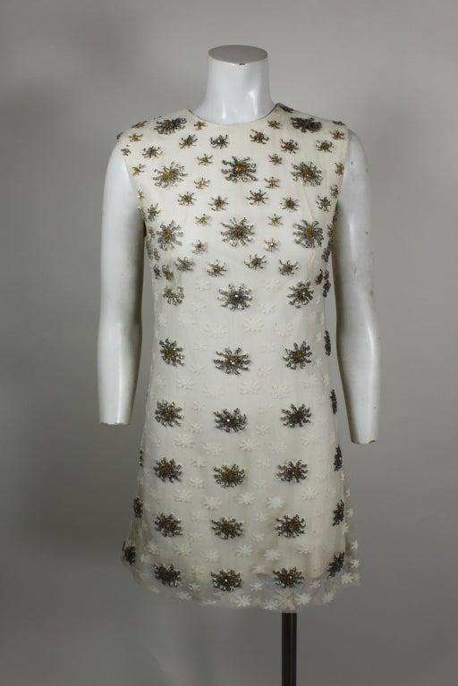 Blass 1960s White Lace Mini Dress with Starburst Beading 2