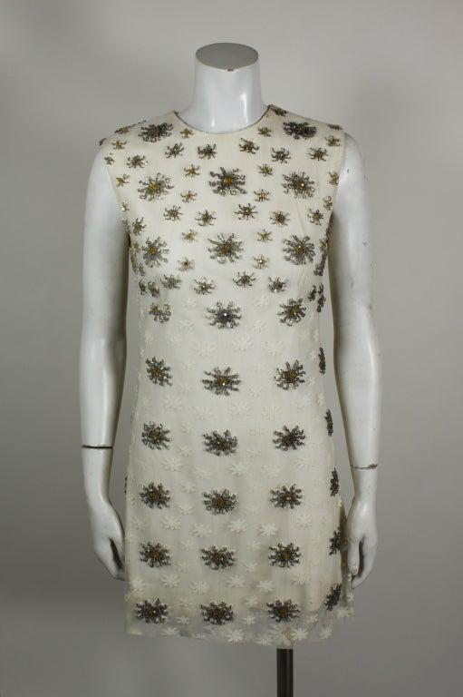 Blass 1960s White Lace Mini Dress with Starburst Beading 3