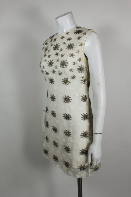 Blass 1960s White Lace Mini Dress with Starburst Beading 4