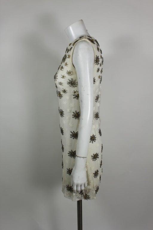 Blass 1960s White Lace Mini Dress with Starburst Beading 5