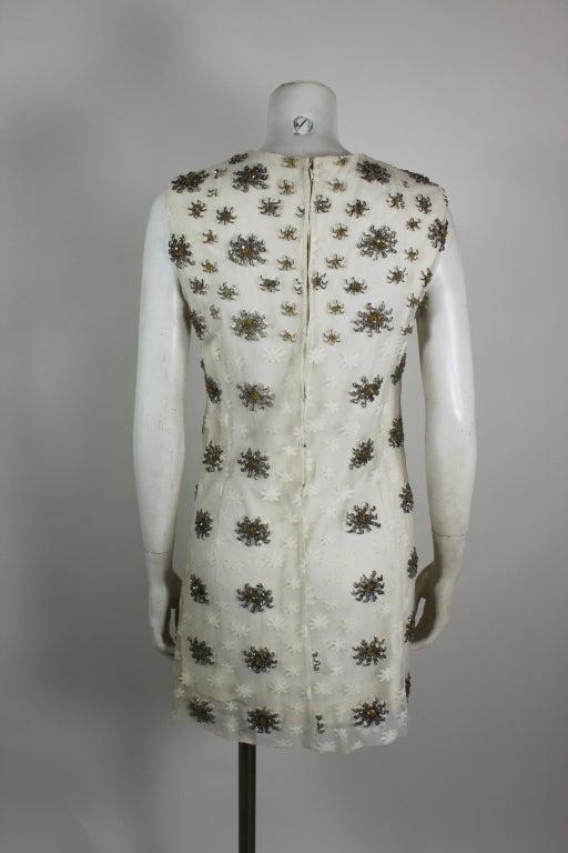 Blass 1960s White Lace Mini Dress with Starburst Beading 6