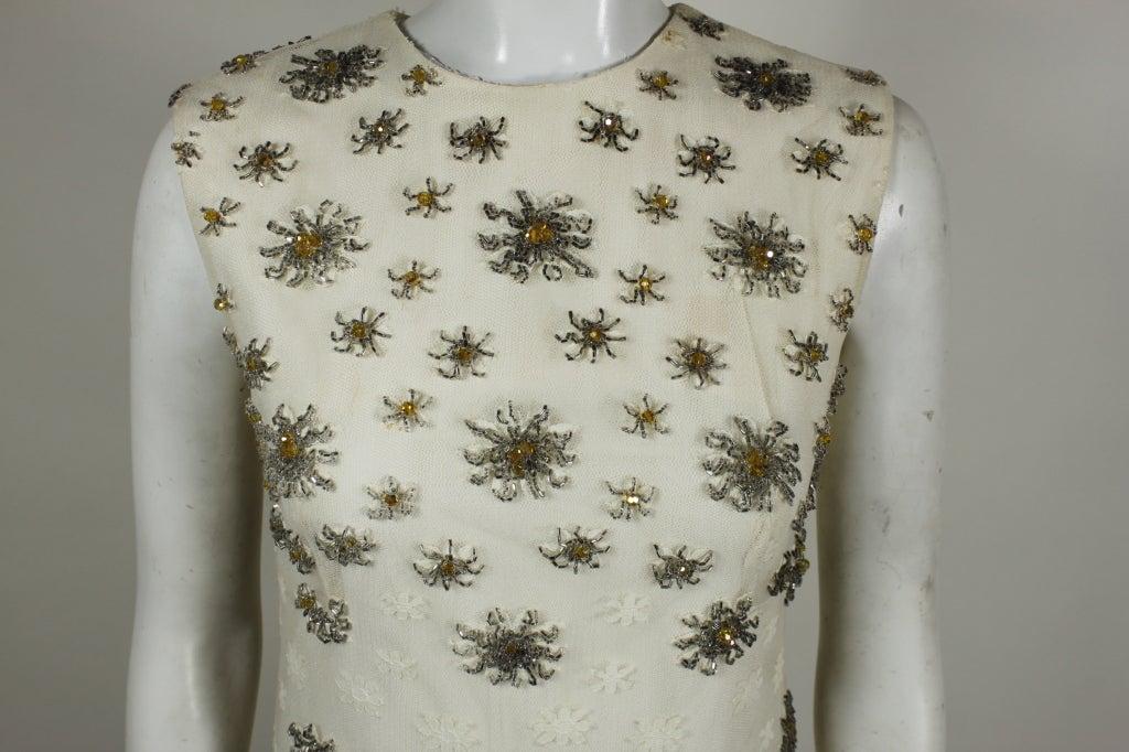 Blass 1960s White Lace Mini Dress with Starburst Beading 7