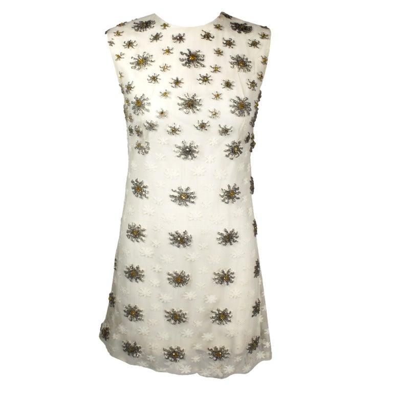 Blass 1960s White Lace Mini Dress with Starburst Beading 1