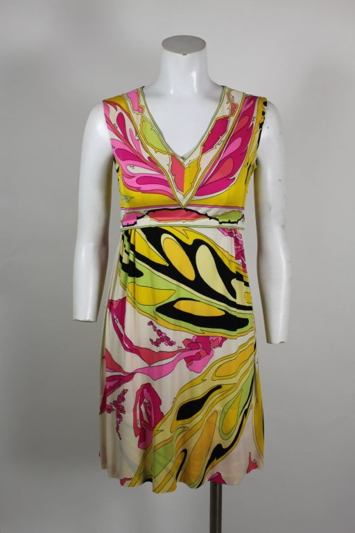 Pucci Pink, Yellow, and Green Butterfly Print Mini Dress 2