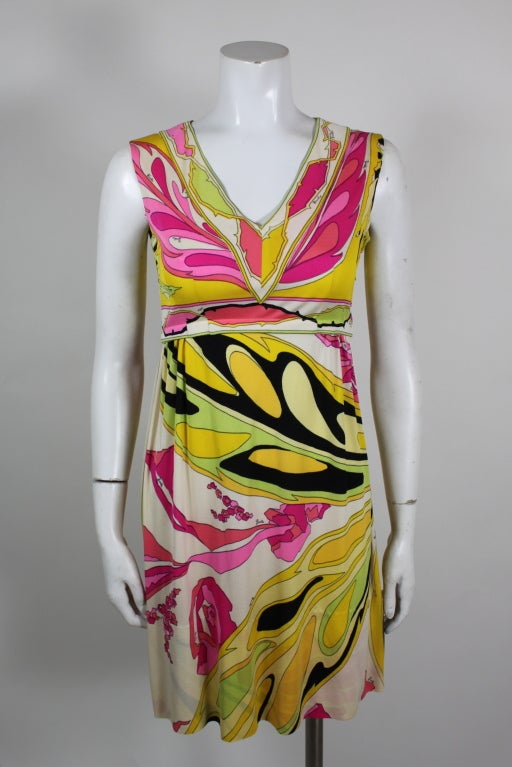 Pucci Pink, Yellow, and Green Butterfly Print Mini Dress 3