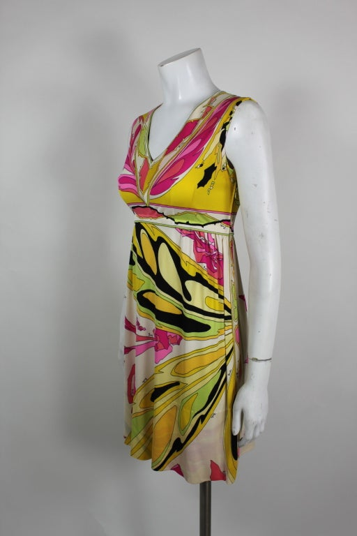 Pucci Pink, Yellow, and Green Butterfly Print Mini Dress 4