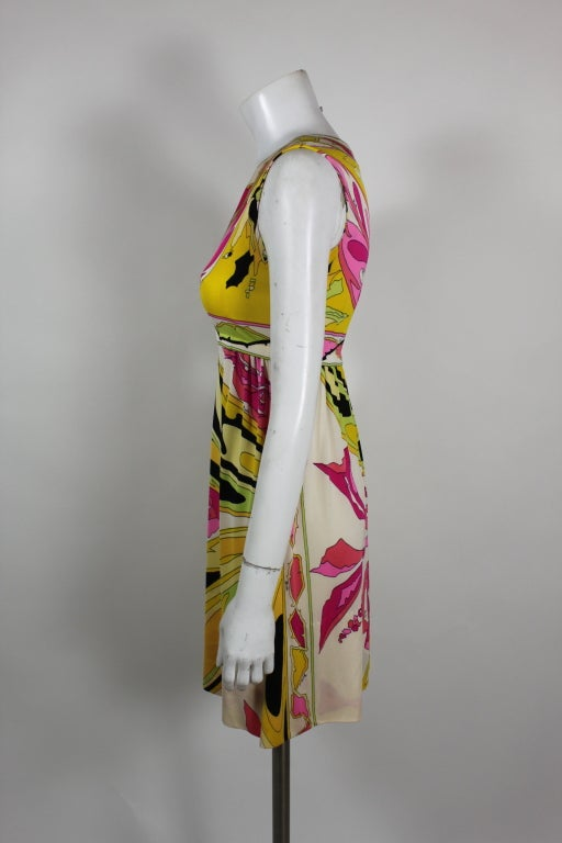 Pucci Pink, Yellow, and Green Butterfly Print Mini Dress 5