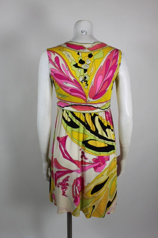 Pucci Pink, Yellow, and Green Butterfly Print Mini Dress 6