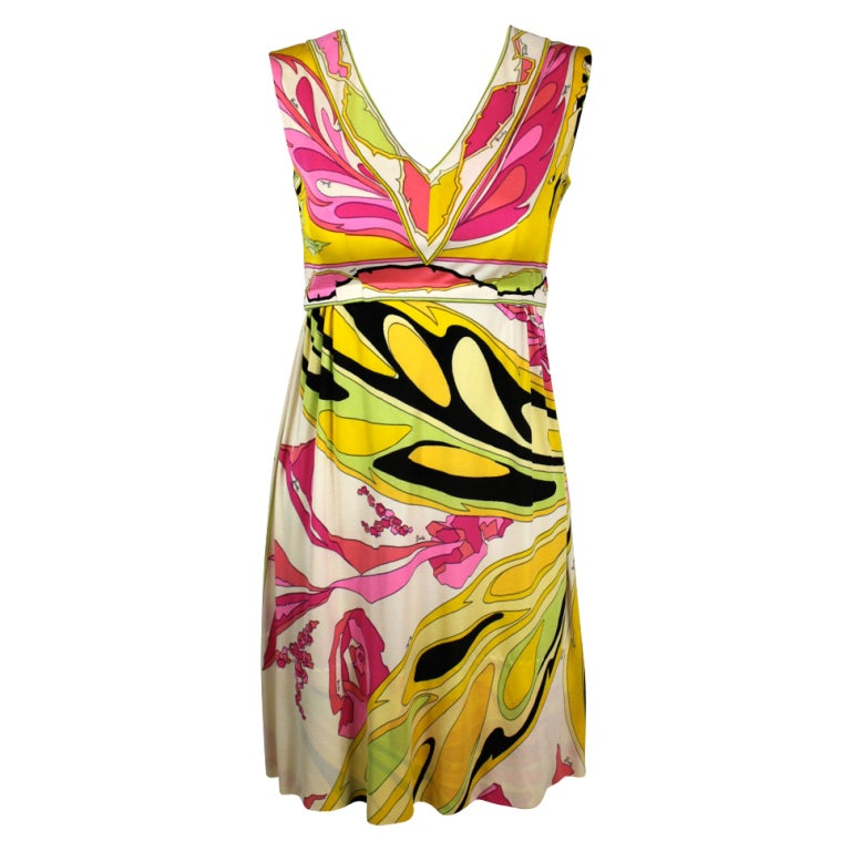 Pucci Pink, Yellow, and Green Butterfly Print Mini Dress 1