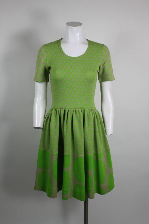 Rudi Gernreich Neon Green & Grey Dress 2