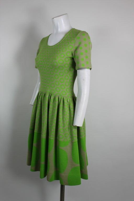 Rudi Gernreich Neon Green & Grey Dress 3