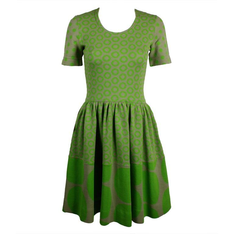 Rudi Gernreich Neon Green & Grey Dress 1