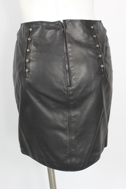 versace leather skirt w medusa studs for sale at 1stdibs