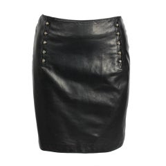 Versace Leather Skirt w Medusa Studs