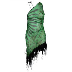 Zandra Rhodes Asymmetrical Dress w Shawl