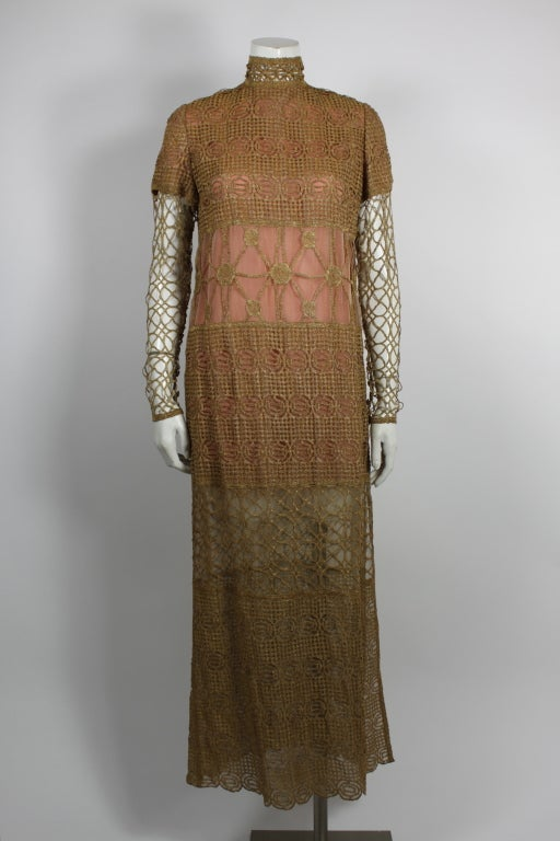 Chloe Glittering Gold Crochet Lame Illusion Gown, 1980s 2