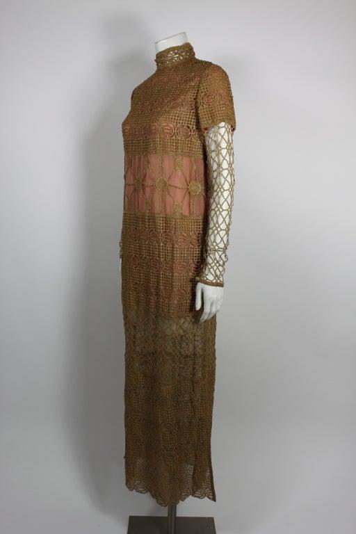 Chloe Glittering Gold Crochet Lame Illusion Gown, 1980s 3