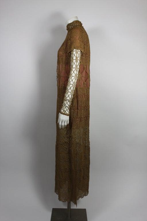 Chloe Glittering Gold Crochet Lame Illusion Gown, 1980s 4