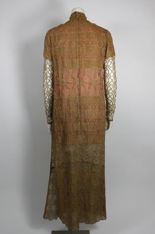 Chloe Glittering Gold Crochet Lame Illusion Gown, 1980s 5