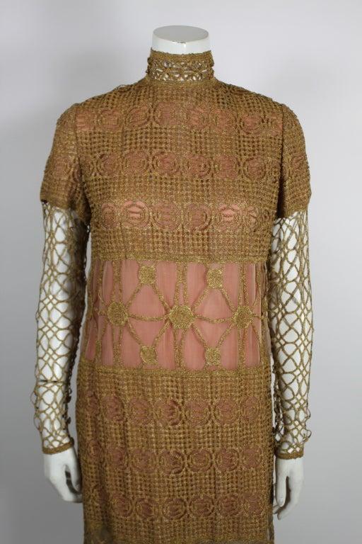 Chloe Glittering Gold Crochet Lame Illusion Gown, 1980s 6