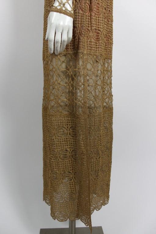 Chloe Glittering Gold Crochet Lame Illusion Gown, 1980s 7