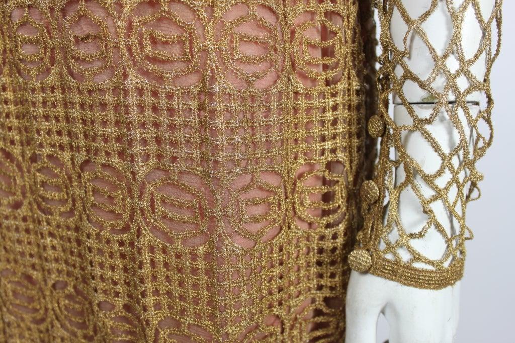 Chloe Glittering Gold Crochet Lame Illusion Gown, 1980s 8